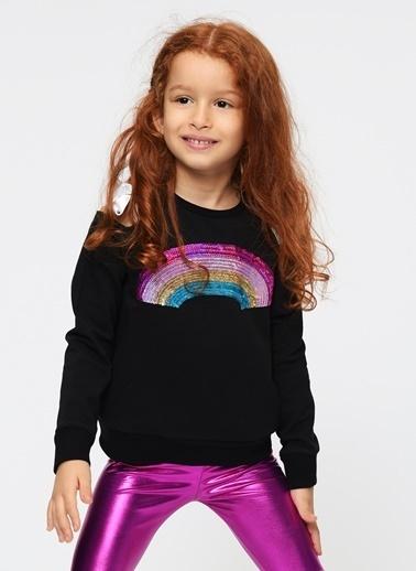 Morhipo Kids Gökkuşağı Baskılı Sweatshirt Siyah
